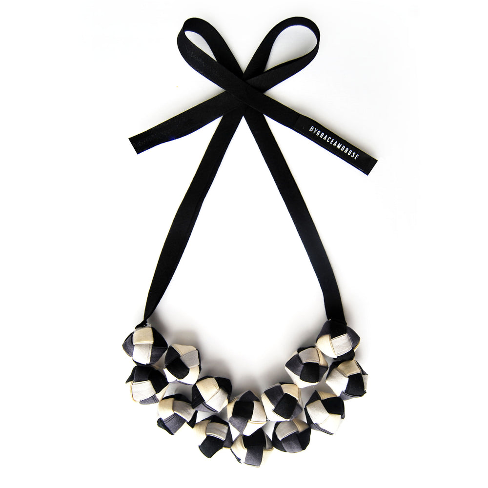 The Eve in Black and white - chunky statement necklace