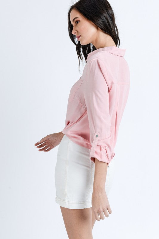 Pretty In Pink Button-Up Top