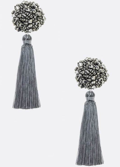 Disco Tassel Earrings In Grey