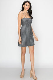 Swear By It Mini Striped Dress In Black