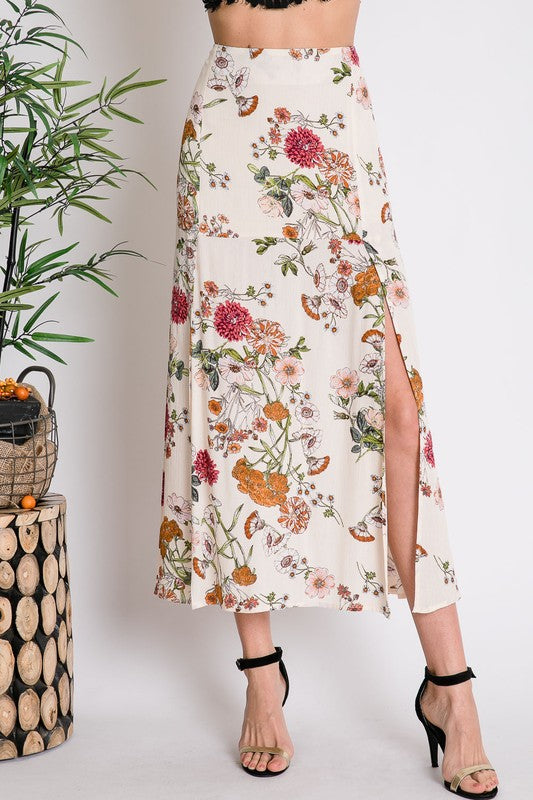 So Romantic Floral Print Maxi Skirt