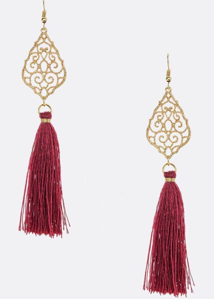 Falling For You Burgundy Earrings