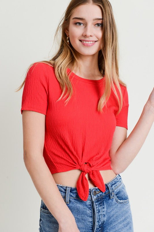 Carefree Crinkle Crop Top