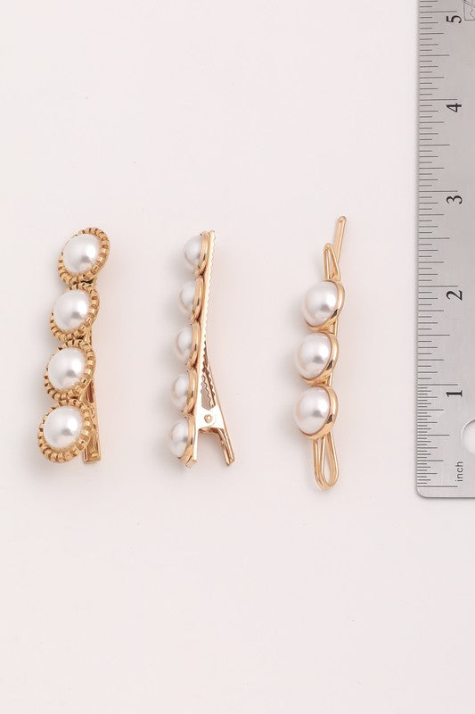 Pearl Hair Barrette Three Piece Set