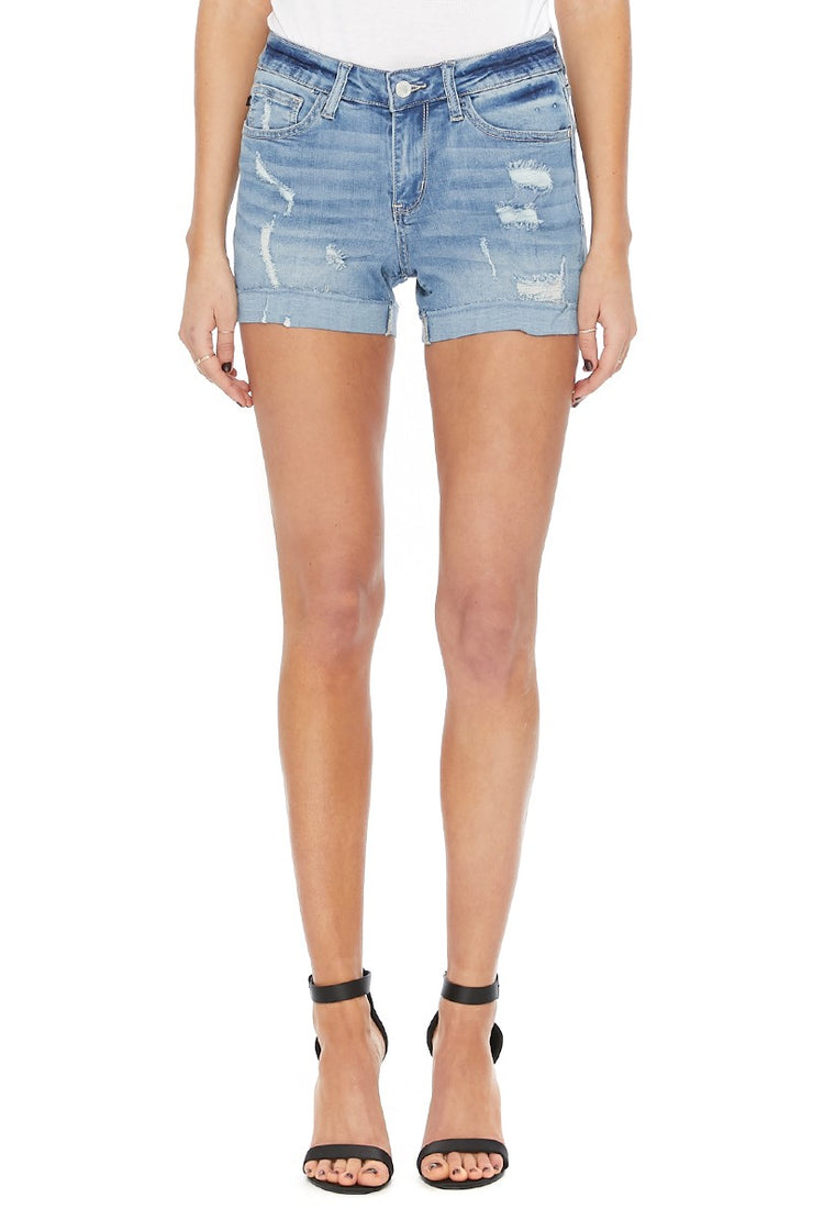 Day Date Light Wash Distressed Denim Shorts