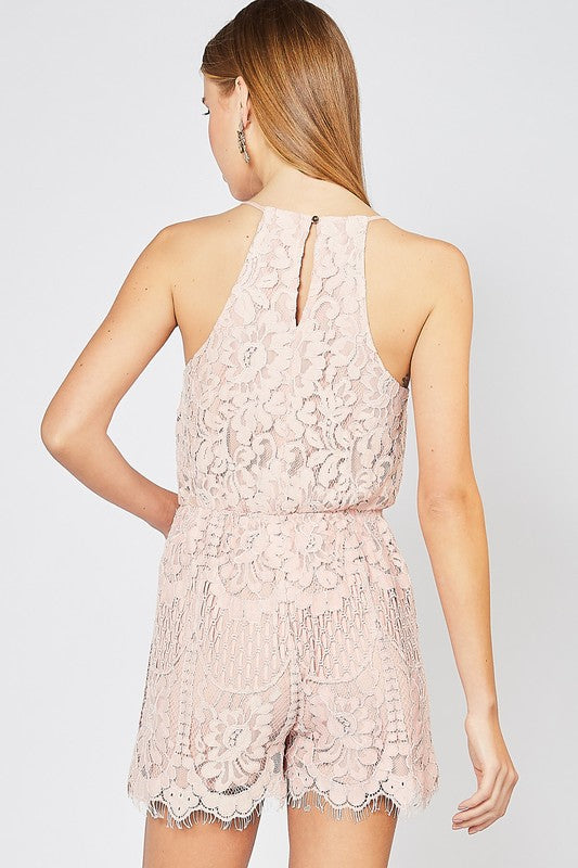Class Act Lace Romper In Blush