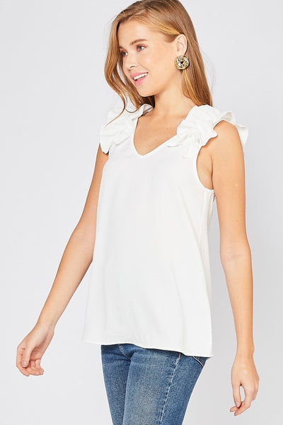 Ruffled Feathers Top In White