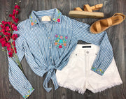 Striped Floral Button-Up