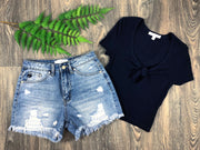 Roundabout Way Distressed Denim Shorts