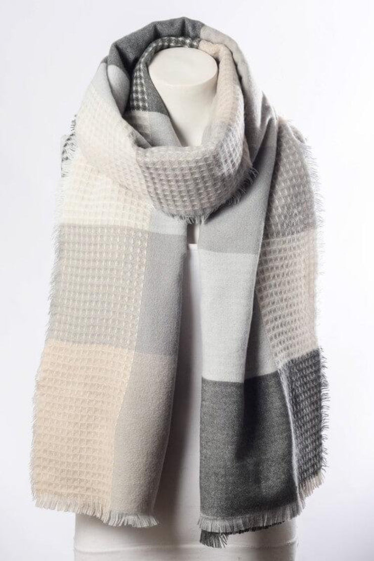 Patchwork Dreams Plaid Scarf In Grey