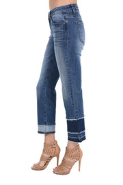 Tiered Straight Leg Jeans In Medium Wash
