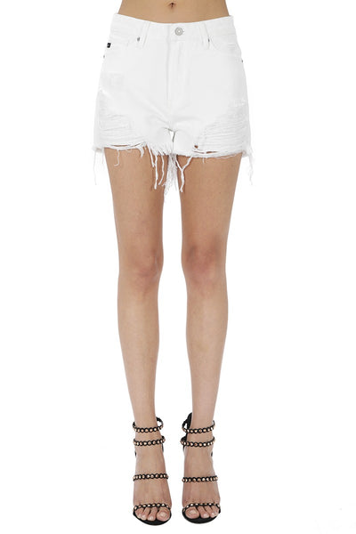Worth It Distressed Denim Shorts In White