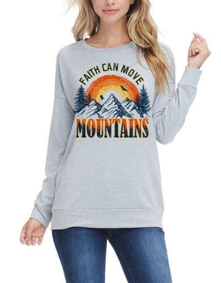 Faith Can Move Mountains Tee In Heather Grey