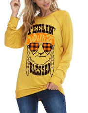 Feelin Willie Blessed Graphic Tee In Mustard