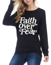 Faith Over Fear Graphic Tee In Black