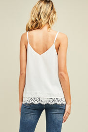 Simple Pleasures Lace Cami In White