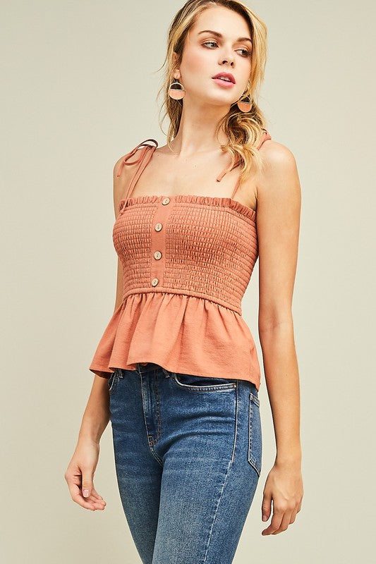 Summer Fling Smocked Peplum Top In Rust