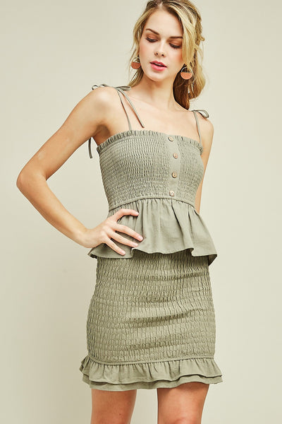 Summer Fling Smocked Peplum Top In Olive