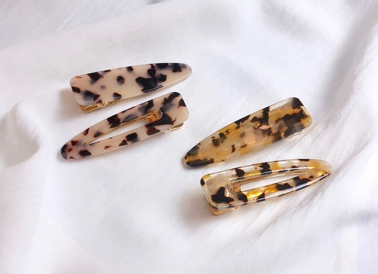 Tortoise Shell Hair Clip Set In Brown