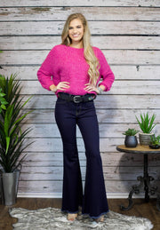 Stand Out Fuzzy Sweater In Fuchsia