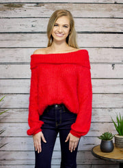 Wrap Me Up Off The Shoulder Sweater In Red