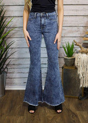 Hi Waist Super Flare In Acid Wash