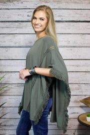 Altered State Fringe Poncho In Olive