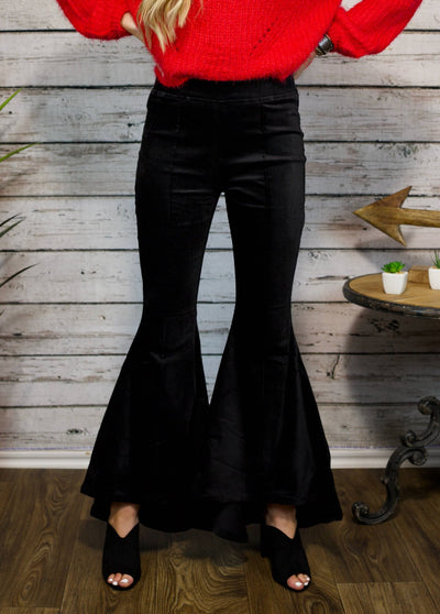 I Have Arrived Black Velvet Flare Pants