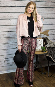Southern Gal Suede Tassel Jacket In Mauve