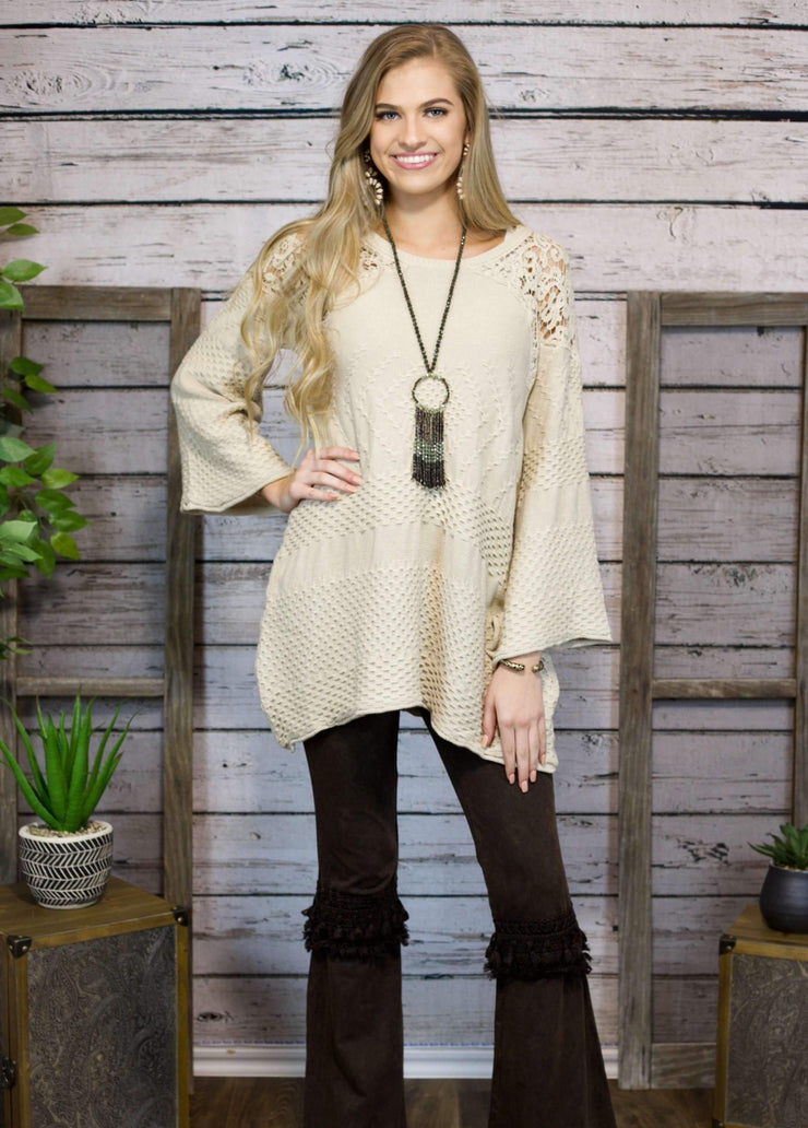 You're Lovely Knit Sweater In Oatmeal