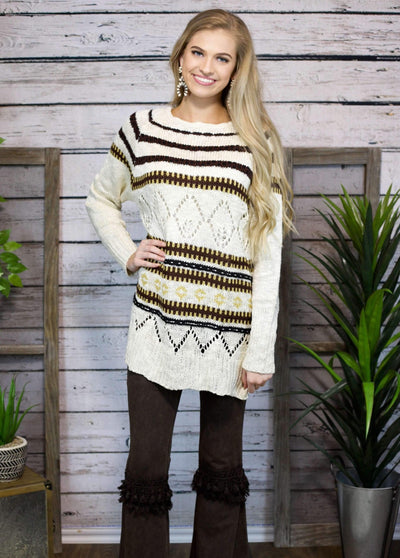 Aztec Stripe Sweater In Oatmeal