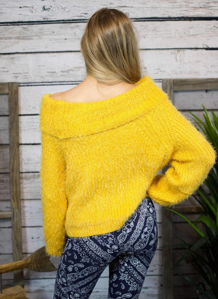 Wrap Me Up Off The Shoulder Sweater In Mustard