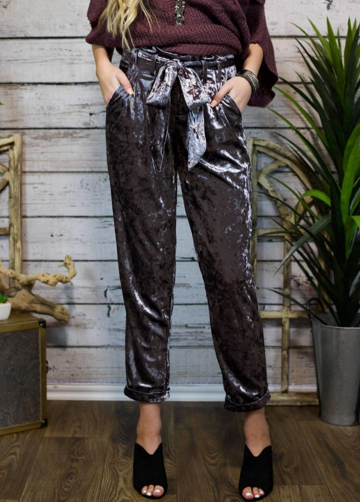 Make A Statement Crushed Velvet Pants In Ash