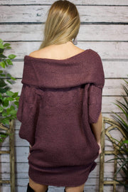 Adore You Cowl Neck Sweater In Deep Plum