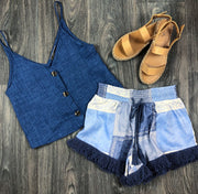 Patchwork Fringe Shorts