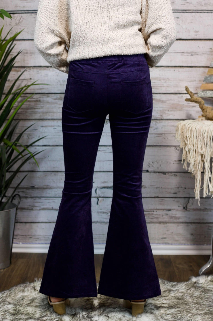 Came To Party Velvet Flare Ruffle Pants in Midnight
