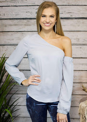 Baby Blues Off The Shoulder Top In Light Blue