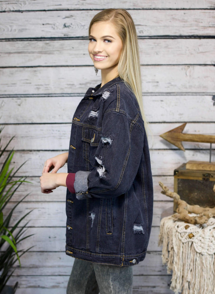 Reputation Distressed Denim Jacket