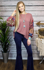 The Harper Waffle Knit Paisley Sleeve Top Mauve