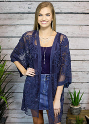 Flower Child Floral Lace Kimono Midnight