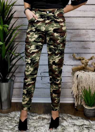 Army Girl High Waist Skinnies Camo