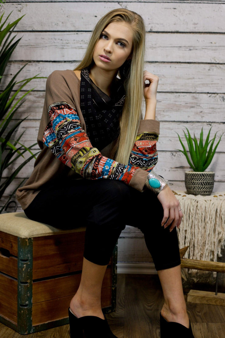 On The Move Aztec Sleeve Top