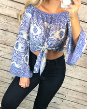 Paisley Crop Top In Light Blue