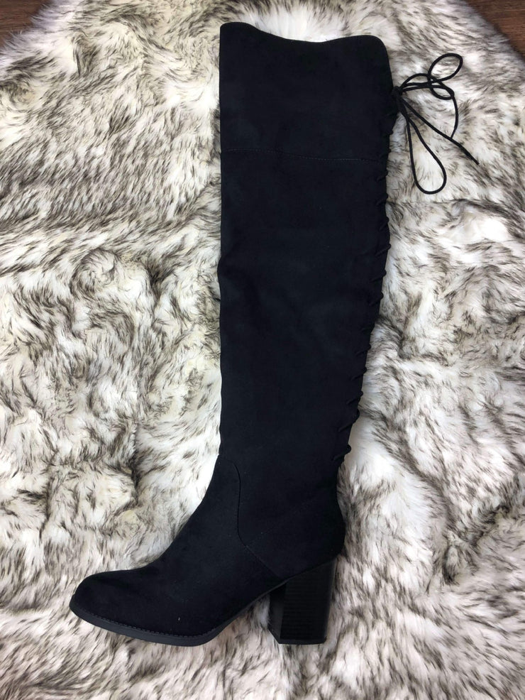 Making Strides Over The Knee Boot In Black