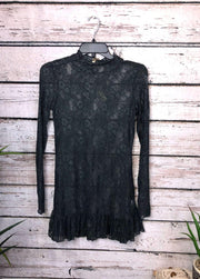 Long Sleeve Lace Top In Ash