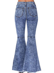 High Waist Super Bells In Acid Wash