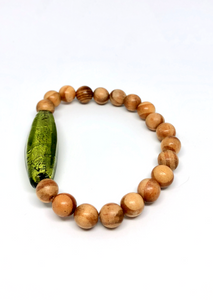 Wood & Murano Glass Bracelet