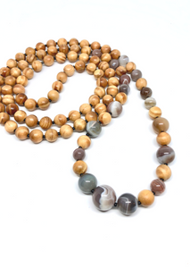 Wood & Botswana Agate Necklace