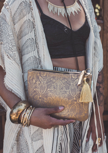 Golden Paisley Clutch