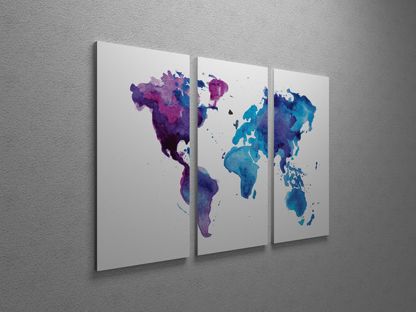 Painted World Map Triptych Canvas Wall Art